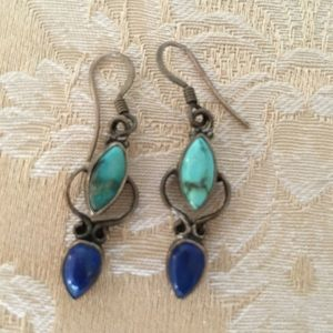 Jewelry - Real turquoise and blue stone dangling earrings